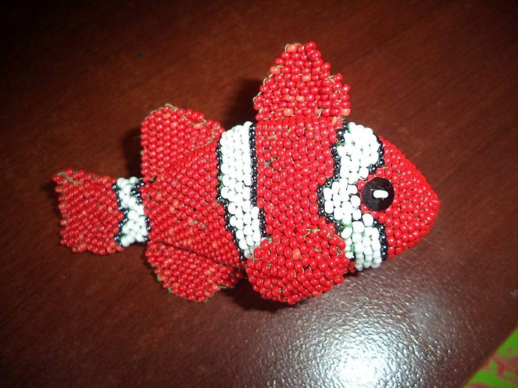 "Брелок ""Рыбка Клоун"" из бисера своими руками, мастер класс"