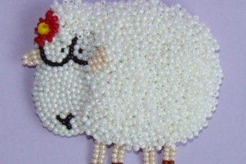 Объемная овечка из бисера своими руками - мастер класс
