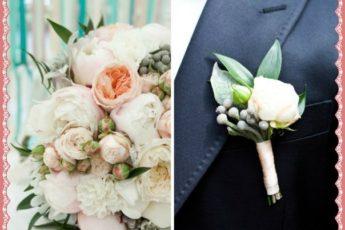 Бутоньерки из живых цветов: на руку жениха из белых роз и других цветов