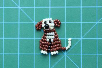 Плоская собака «Тузик» из бисера схема для начинающих